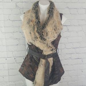 5/48 XS brown faux fur vest w/belt